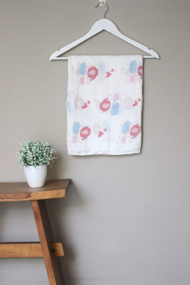 Joyku-bamboo-swaddle-pink-elephant- pattern